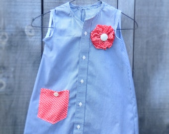 Hand made Upcycled Girl's Dress from Men's shirt.  Age 5.  Black and White Dress.