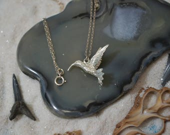 Sterling Silver Hummingbird Pendant With Chain