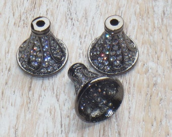 10mm Pave Cz Encrusted Gunmetal Cone Bead Cap