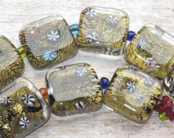 Lampwork Glass Square with Flower Beads Gold Foil  8pcs 12x12mm
