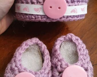 Purple Hat and Booties Set