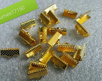 set of 50 crimp pinch - length 10 x 7 mm - color gold