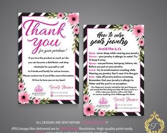 Paparazzi Thank You Card, Paparazzi Care Instruction, Personalized Information, Paparazzi Marketing, Custom Paparazzi Card, Printable PP14