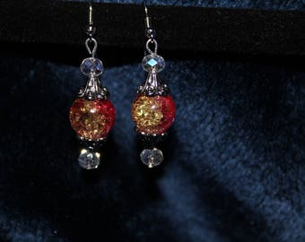 Sparkling Pink and Silver Earrings
