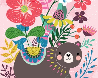 Bear and flowers - A4 print