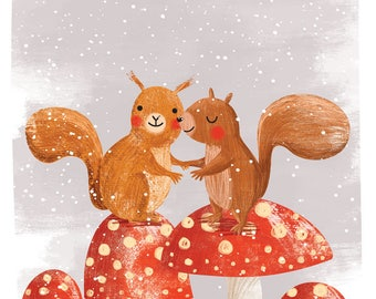 Squirrels on red mushrooms - A4 print