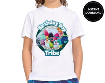 Instant Download - Trolls Characters Birthday Boy Tribe Relatives Family Tee Shirt Tshirt Iron On Transfer Printable DIY - Digital File