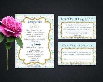 Personalized Baby Sprinkle Party Invitation Book Request Diaper Raffle Invite Confetti Pastel Baby Blue Stripes Printable DIY - Digital File