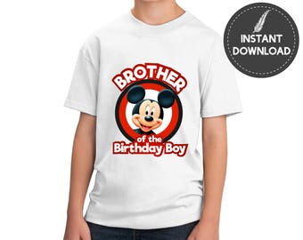 Instant Download - Mickey Mouse Brother of the Birthday Boy Iron On Transfer Image Tee Shirt Tshirt Printable Shirt DIY - Digital File