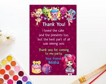 Personalized Shopkins Shoppies Thank You Card Donatina Jessicake Popette Birthday Party Maroon Polka Dots Printable DIY - Digital File