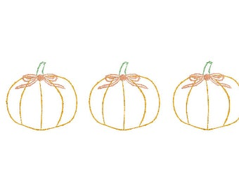 pumpkins with bows vintage quick bean stitch embroidery design file