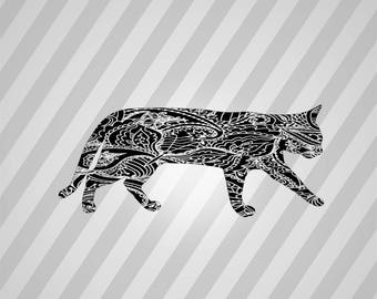 Cat Zentangle Silhouette - Dxf, Svg, Eps, Rld, Rdworks, Pdf, Png And Ai Print Files, Digital Cut, Vector File, Svg File