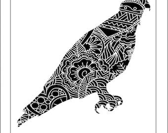 Osprey Papercut Template - Svg Paper Cut Templates Stencil Line Art Henna Mandala Pdf Cut Files Digital Clip Art Drawing