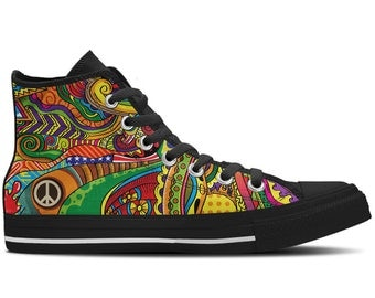 Men's High Top Sneaker with Colorful Print, Peace Symbol and Black Soles 'Peace of Color' - Multicolored/Black