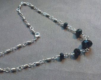 Silver Wire Wrap Chain Necklace with Jet Black Faceted Glass Beads