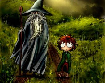 Poster print digital illustration - Gandalf and Frodo - Lord of the rings-