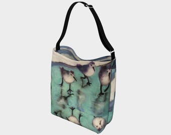 """Gorgeous Bird Detail Day Neoprene Tote from Orginal PastelArt """"Run Forrest Run"""" For Bird Lovers and Others"""