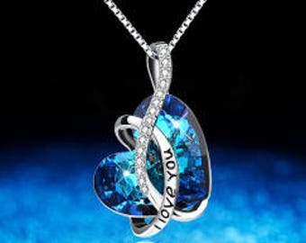 Crystals from Swarovski-necklace ' Crystal Blue Heart: I Love You '