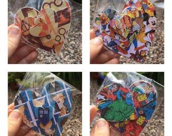 Decoupage Set of 3 Decorative Hearts Marvel Harry Potter Disney Doctor Who