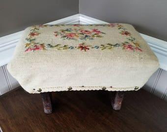 Antique Needlepoint Footstool, Vintage Foot Stool, Wood Foot Rest, Primitive Antique, Rustic Country Farmhouse Home Decor