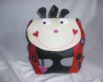 Child bag school bag/nursery/nursery blanket bag/lunch Lady lady bug red leatherette fullsize