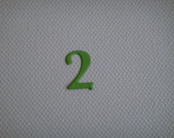 "Set of 10 numbers ""2"" in pale green drawing to create paper"