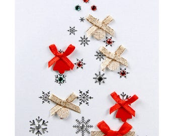 Christmas card / new year tree with red and gold nodes