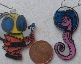 fun diver and sea horse earrings