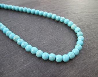 Howlite: 15 round beads 6 mm - blue gemstones-