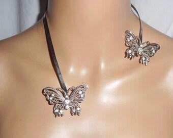 Necklace original asymmetrical Swarovski crystal butterflies