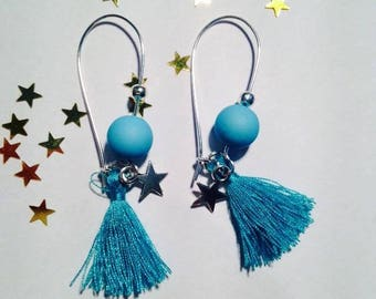 Earring ear tassels dangling turquoise charms