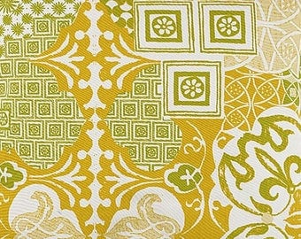 Fabrics, 4 coupons, 4 colors, mosaic, oriental style