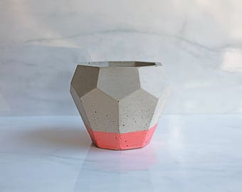 """Concrete Geode Pot - Geometric Planter - 4"""" Tall - Faceted - Custom Dipped Color"""