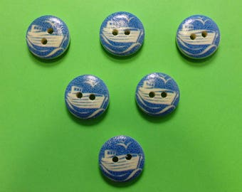 SET of 6 wood buttons: theme Starfish motif round boat 15mm (02)