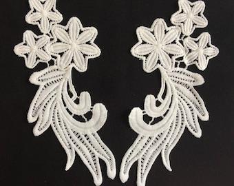 Appliquex2 guipure lace of high quality 17.5 x 8 cm