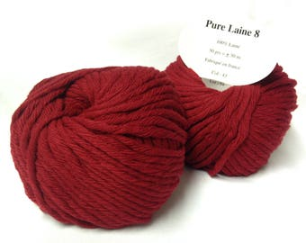 knit - wool / set 10 balls 8/red wool / made in FRANCE