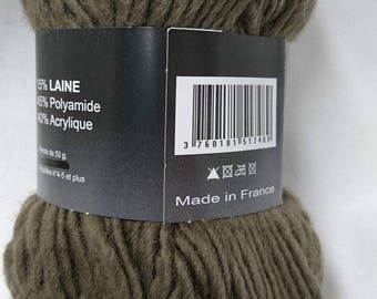 10 balls of yarn / taupe / made in FRANCE