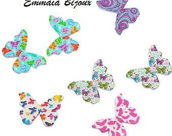 6 butterflies 28 x 21 mm wooden buttons