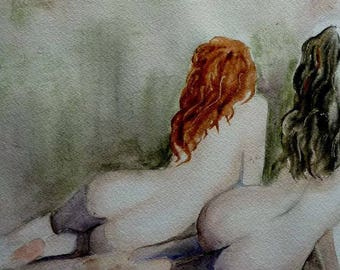 woman, a redheaded woman, a brunette woman, watercolor