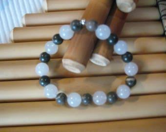 Bracelet d'agate naturelle et jaspe brun