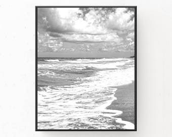 Waves and Clouds Print - Black And White Art, Modern Minimalist, Printable Wall Art, Digital Download, Beach Photography, Coastal Poster