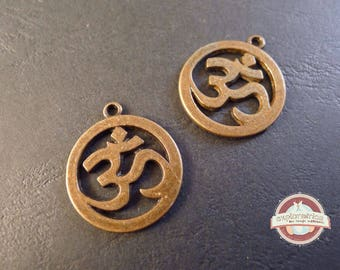 2 charms 25x29mm bronze OM Hinduism religion OHM charms