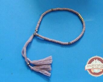 old adjustable bracelet pink matte and gold ethnic