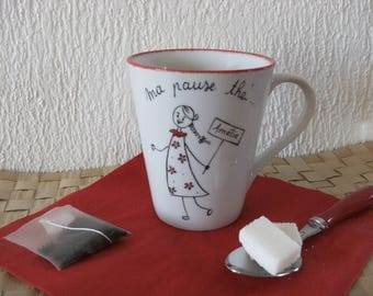 "personalized mug collection ""naive"" original red and black. Humorous"