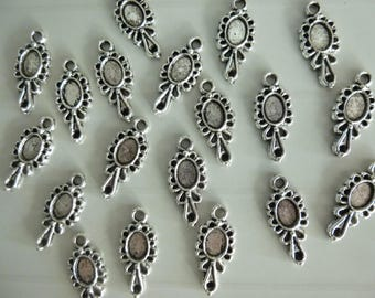 Set of 5 charms in silver mirror