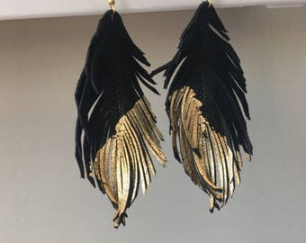 Black and gold genuine LEATHER feather earrings with gold leaf tips metallic leather earrings lightweight dangle earrings