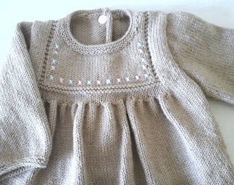 Beige hand knitted baby dress/tunic