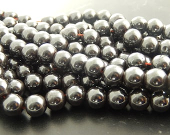 10 pearls 10 mm black hematite