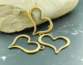 2 pendants heart antique bronze charms