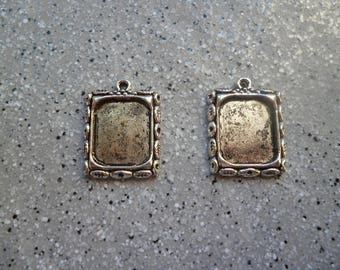 2 support of rectangular cabochon in antique silver